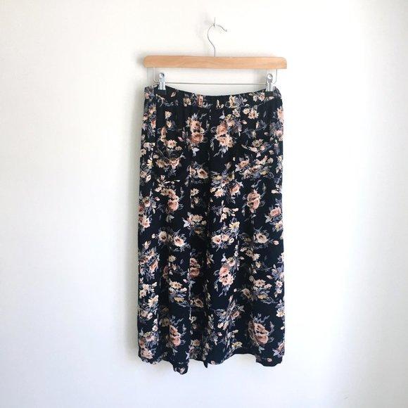 Vintage buttondown floral midi skirt - size Small